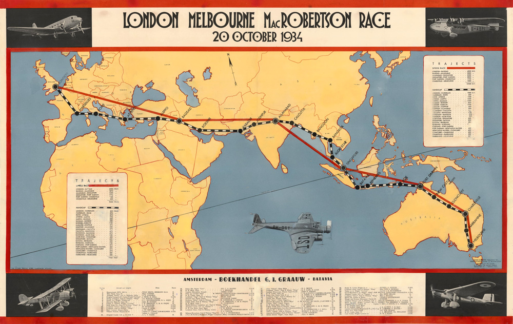 1934 London Melbourne MacRobertson Air Race Map