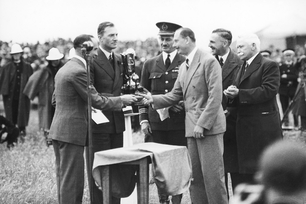The Duke of Gloucester presents trophy to Scott and Campbell Black