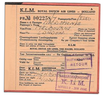 1934 Domenie KLM Ticket